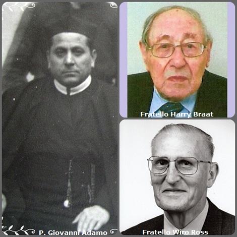 Tra i 40 defunti di oggi 9 aprile, di cui 5 italiani l'immagine mostra tre Redentoristi: l'italiano P. Giovanni Adamo (1881-1935) e due olandesi: fratello Henricus-Paschalis (Harry) Braat (1921-2010) e fratello Georgius-Wiro Ross (1927-2013).