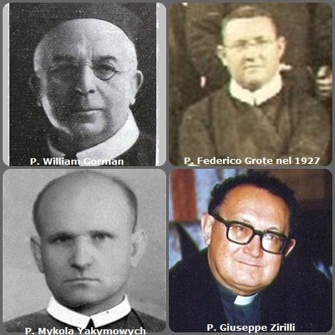 Tra i 43 defunti di oggi, di cui 1 italiano l'immagine mostra 4 Redentoristi: l'irlandese P. William Gorman (1863-1925), il tedesco P. Federico Grote (1853-1940) trasferito in Argentina (foto 1927); l'ucraino P. Mykola Yakymowych (1901-1985) e l'italiano P. Giuseppe Zirilli (1924-1991).