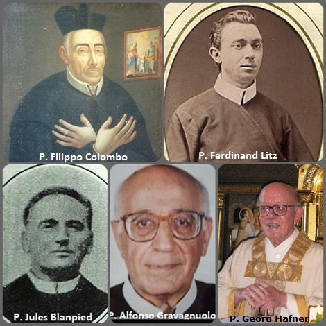 Tra i 31 defunti di oggi 6 maggio, di cui 3 italiani l'immagine mostra 5 Redentoristi: gli italiani P. Filippo Colombo (1743-1828) e P. Alfonso Gravagnuolo (1916-1994); l'americano P. Ferdinand Litz (1847-1913), il francese P. Jules Blanpied (1854-1934) e il tedesco P. Georg Hafner (1936-2013).