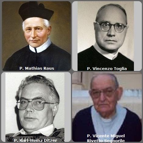 Tra i 37 defunti di oggi 9 maggio, di cui 3 italiani l'immagine mostra 2 Redentoristi: lo svizzero P. Mathias Raus (1829-1917) che fu Rettore Maggiore dal 1894 al 1909, l'italiano P. Vincenzo Toglia (1903-1983), il tedesco P. Karl-Heinz Ditzer (1935-2013) e l'argentino P. Vicente M. Rivetto Segnorile (1929-2013).