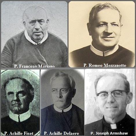 Tra i 34 defunti di oggi, 12 luglio, di cui 6 italiani l'immagine mostra 5 Redentoristi; due italiani: P. Franceso Antonio Mariano (1829-1911) e P. Romeo Mezzanotte (1890-1965), il canadese P. Achille Fiset (1860-1934), il belga P. Achille Delaere (1868-1939) e l'americano P. Joseph Roland Armshaw (1927-2013).