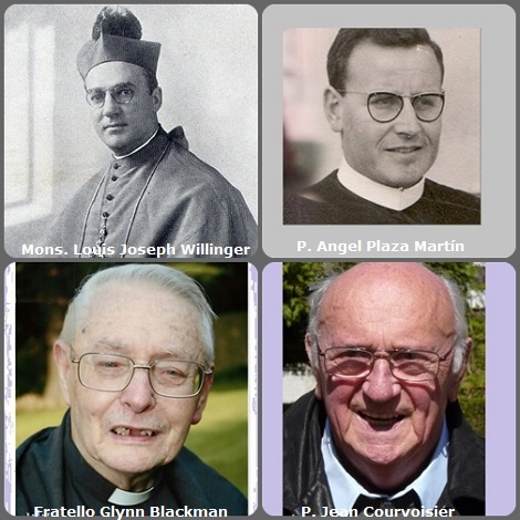 Seconda immagine 4 Redentoristi: l'americano P. Louis Joseph Willinger (1886-1973) Vescovo in Monterey, California, USA; lo spagnolo P. Angel Plaza Martín (1932-2012); l'inglese Fratello Glynn Blackman (1927-2013) e il francese P. Jean Courvoisier (1928-2013).