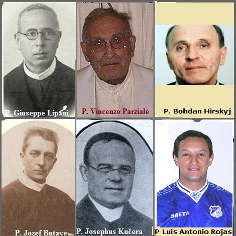 Tra i 22 defunti di oggi 15 agosto, di cui 3 italiani l'immagine mostra 6 Redentoristi: gli italiani P. Giuseppe Lipani (1884-1957) e P. Vincenzo Parziale (1917-2005); il belga P. Jozef Butaye (1877-1927); il P. Josephus Kučera dalla Moravia (1884-1933; il colombiano P. Luis Antonio Rojas (1960-2013) e l'ucraino P. Bohdan Hirskyj (1941-2013).