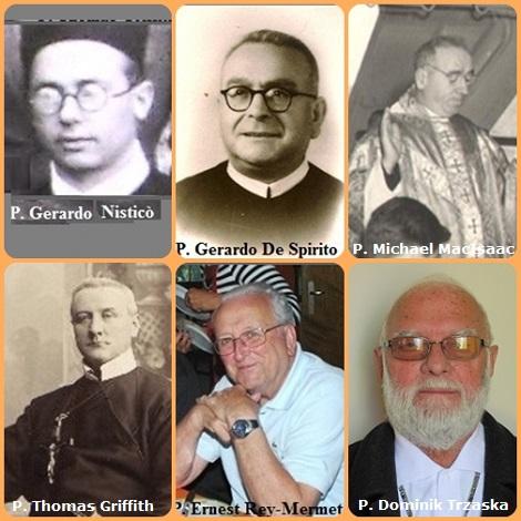 Tra i 39 defunti di oggi 24 agosto, di cui 3 italiani l'immagine mostra 6 Redentoristi:gli italiani P. Gerardo Nisticò (1911-1940) e P. Gerardo De Spirito (1903-1966); il canadese P. Michael Patrick MacIsaac (1901-1969); l'americano P. Thomas Griffith (1926-1993) e lo svizzero P. Ernest Rey-Mermet (1918-2001) e il polacco P. Dominik Trzaska (1930-2013).