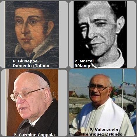 Tra i 39 defunti di oggi 30 agosto, di cui 6 italiani due immagini mostrano 8 Redentoristi. Prima immagine, 4 Redentoristi: gli italiani P. Giuseppe Domenico Tofano (1773-1810), P. Carmine Coppola (1927-2008); il canadese Marcel Bélanger (1911-1997) e il cileno P. Valenzuela Henríquez Oslando (1940-2012).
