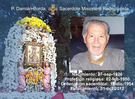Tra i 29 defunti di oggi 01 ottobre, di cui 5 italiani, l'immagine mostra un solo Redentorista: l'argentino P. Damián Amancio Borda Insaurralde (1927-2012).