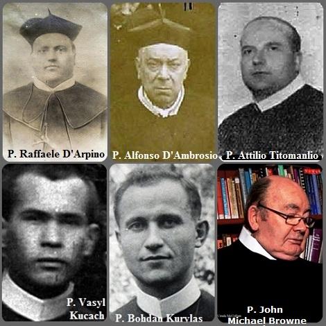 Tra i 40 defunti di oggi 5 settembre, di cui 6 italiani, l'immagine mostra 6 Redentoristi: gli italiani P. Raffaele D'Arpino (1815-1872); P. Alfonso D'Ambrosio (1828-1897) e P. Attilio Titomanlio (1913-1964) e gli ucraini P. Vasyl Kucach (1919-1984) e P. Bohdan Kurylas (1917-1991) emigrato in Australia e l'irlandese P. John Michael Browne.