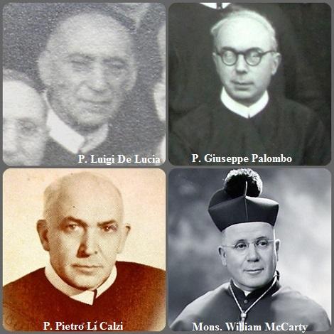 Tra i 49 defunti di oggi 14 settembre, di cui 7 italiani, l'immagine mostra 4 Redentoristi: gli italiani P. Luigi De Lucia (1856-1934); P. Giuseppe Palombo (1900-1972) e P. Pietro Li Calzi (1918-1984) e lo statunitense Mons. William McCarty (1889-1972) vescovo di Rapid City, South Dakota, USA.