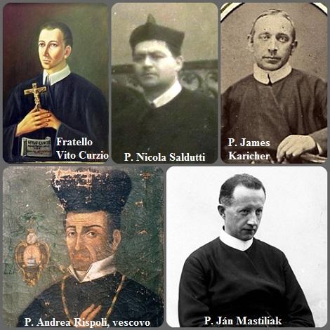 Tra i 33 defunti di oggi 18 settembre, di cui 4 italiani, l'immagine mostra 5 Redentoristi: gli italiani Fratello Vito Curzio (1707-1745); P. Andrea Rispoli (1787-1839), vescovo di Squillace in Calabria; P. Nicola Saldutti (1887-1934); il lussemburghese P. James Karicher (1832-1910) emigrato negli USA e il cecoslovacco P. Ján Mastiliak (1911-1989) morto in fama di santità.