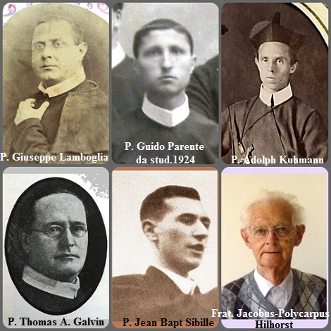 Tra i 48 defunti di oggi 20 settembre, di cui 8 italiani, l'immagine mostra 6 Redentoristi: gli italiani P. Giuseppe Lamboglia (1841-1878) e P. Guido Parente (1902-1934); il tedesco P. Adolph Kuhmann (1850-1899); l'americano P. Thomas A. Galvin (1864-1933): il francese P. Jean Bapt Sibille (1910-1944) e il fratello olandese Jacobus-Polycarpus Hilhorst (1920-2012).