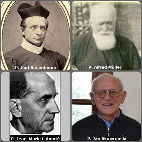 Tra i 37 defunti di oggi 21 settembre, di cui 3 italiani, l'immagine mostra 4 Redentoristi: il tedesco P. Carl Rosenbauer (1838-1919), emigrato negli USA e il placco P. Alfred Müller (1888-1962); il canadese P. Jean-Marie Labonté (1913-2005) e il polacco P. Jan Skowroński (1938-2013), missionario in Argentina.