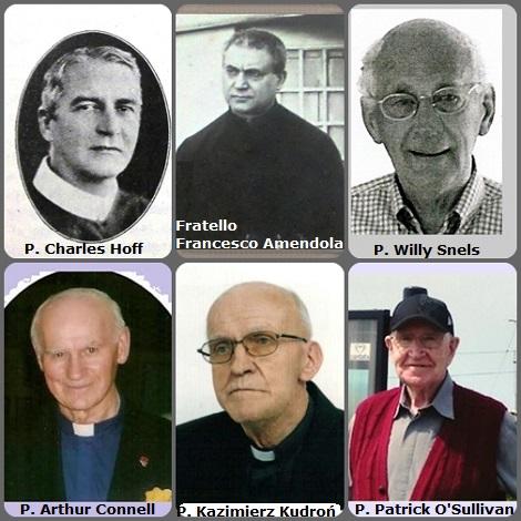 Tra i 34 defunti di oggi 25 settembre, di cui 4 italiani, l'immagine mostra 6 Redentoristi: l'americano P. Charles Hoff (1875-1928); l'italiano Fratello Francesco Amendola (1875-1949); l'olandese P. Willy Snels (1922-2010); il canadese P. Arthur Bernard Connell (1928-2012) e il polacco P. Kazimierz Kudroń (1930-2012) e l'irlandese P. Patrick O'Sullivan (1925-2012).