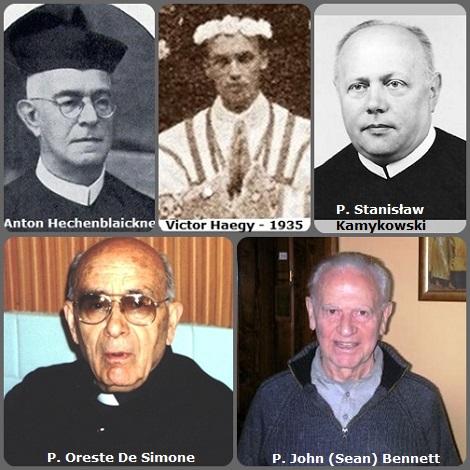 Tra i 35 defunti di oggi 28 settembre, di cui uno italiano, l'immagine mostra 5 Redentoristi: l'austriaco P. Anton Hechenblaickner (1880-1965); il francese P. Victor Haegy (1910-1989) fotografato nel giorno della sua prima messa nel 1935; il polacco P. Stanisław Kamykowski (1931-2012); l'italiano P. Oreste De Simone (1914-2012) e l'irlandese P. John (Sean) Bennett (1944-2013).