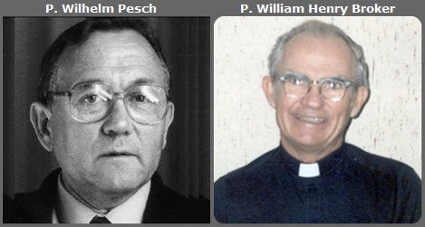 Seconda immagine: il tedesco P. Wilhelm Pesch (1923-2013) e l'americano P. William Henry Broker (1923-2013).