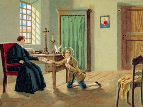 """P. Lorenzo D'Antonio, rettore di Deliceto, accoglie il giovane Gerardo Maiella che gli presenta un biglietto del P. Cafaro; dentro stava scritto """"Ti mando un soggetto del tutto inutile..."""""""