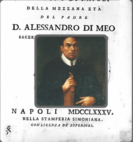 P. Alessandro Di Meo, nativo di Volturara Irpina (AV), fu redentorista dal cuore integro e generoso; apprezzatissimo come studioso e come predicatore, fece dell'umiltà la via della santità. Morì mentre predicava in missione a Nola.