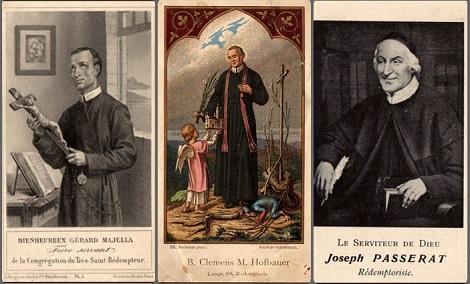 Santini di Redentoristi che la Comunità di Contamine distribuiva ai fedeli a fine '800. In questa comunità mori nel 1872 il P. Fratello Jean Claude Suatton.