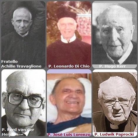Tra i 30 defunti di oggi 02 ottobre, di cui 3 italiani, l'immagine mostra 6 Redentoristi: gli italiani Fratello Achille Travaglione (1852-1934) e P. Leonardo Di Chio (1897-1988); l'irlandese P. Hugo Kerr (1895-1986) ; l'olandese P. Ferd van der Heijden (1909-2002); lo spagnolo P. José Luis Lorenzo (1921-2009) e il polacco P. Ludwik Paprocki (1931-2013).