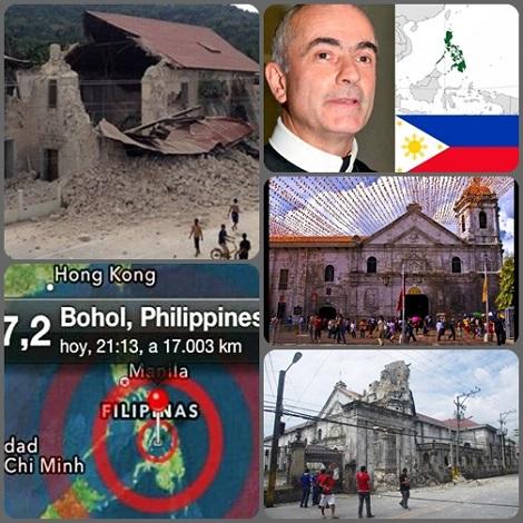 2013 – Filippine 15 ottobre. - Un terremoto, di magnitudo 7.1 della scala Richter, ha colpito violentemente le Filippine Centrali dopo le 8.00 del mattino (ora locale).L'epicentro è stato localizzato nell'isola di Bohol, a circa 70 chilometri da Cebu, la seconda più grande città delle Filippine.  Il P. Generale, Michael Brehl esorta i confratelli a restare vicini alle popolazioni colpite dal disastro.