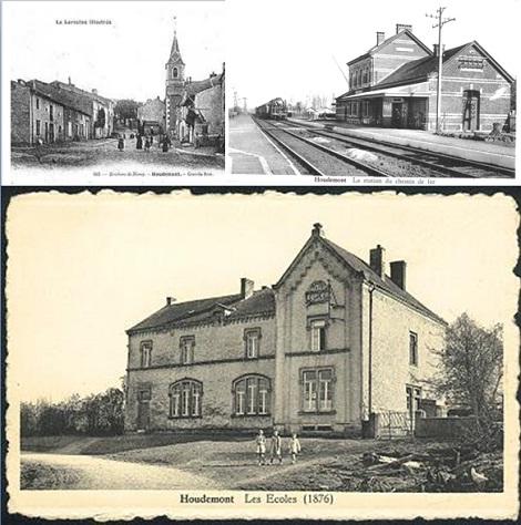 Antiche vedute di Houdemont nella regione della Mosella. I Redentoristi hanno avuto una Casa aperta nel  1873 e chiusa nel 1903. Qui nel 1876 morì il giovane sacerdote redentorista P. Cyrille Pittet.