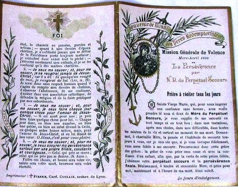 Valence, Francia - Ricordo della missione con raccomandazioni spirituali rilasciato dai missionari Redentoristi nel 1898 - In questa Comunità si era spento nel 1884 il P. Antoine Jacob.