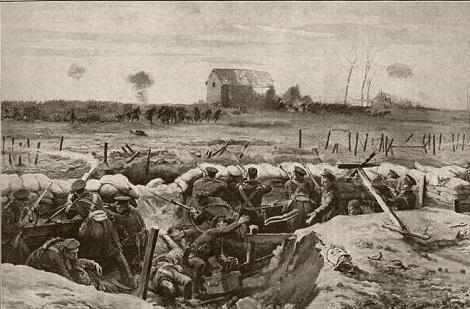 Le trincee di Ypres nel 1914, dove avvenne una sanguinosa battaglia: vi morì il giovane novizio redentorista Joseph Monasse. (immagine da internet).