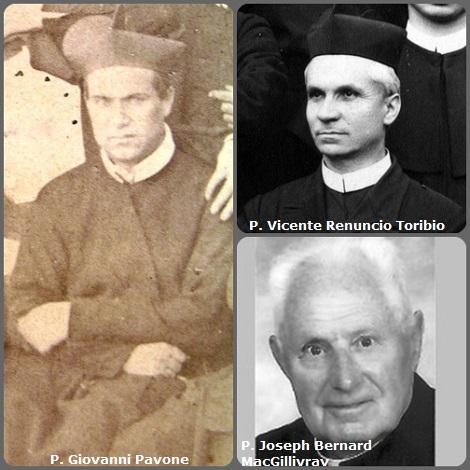 Tra i 27 defunti di oggi 7 novembre, di cui 3 italiani, l'immagine mostra 3 Redentoristi: l'italiano P. Giovanni Pavone (1826-1901); lo spagnolo P. Vicente Renuncio Toribio (1876-1936) e il canadese P. Joseph Bernard MacGillivray (1917-2007).