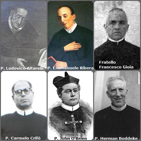 Tra i 34 defunti di oggi 8 novembre, di cui 5 italiani, l'immagine mostra 6 Redentoristi: gli italiani P. Ludovico Altarelli (1762-1852); P. Emmanuele Ribera (1811-1874); Fratello Francesco Gioia (1880-1963) e P. Carmelo Crifò (1902-1966); l'irlansede P. John O'Brien (1850-1885) e l'olandese P. Herman Boddeke (1894-1978).