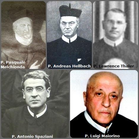 Tra i 35 defunti di oggi 11 novembre, di cui 6 italiani, l'immagine mostra 5 Redentoristi: gli italiani P. Pasquale Melchionda (1813-1866); P. Antonio Spaziani (1878-1946) e P. Luigi Maiorino (1911-2002); il tedesco Andreas Hellbach (1851-1929) trasferito in USA e l'americano P. Lawrence Thaler (1898-1958).