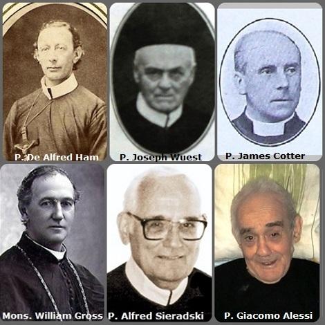 Tra i 33 defunti di oggi 14 novembre, di cui 4 italiani, l'immagine mostra 5 Redentoristi: l'americano P. William Gross (1837-1898), Arcivescovo di Oregon City, USA; il belga P. De Alfred Ham (1830-1899) emigrato in USA; il tedesco P. Joseph Wuest (1834-1924); l'inglese P. James Cotter (1870-1938); l'americano P. Alfred Sieradski (1922-2008) e l'italiano P. Giacomo Alessi (1925-2013).