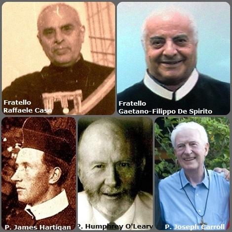 Tra i 39 defunti di oggi 15 novembre, di cui 8 italiani, l'immagine mostra 4 Redentoristi: gli italiani Fratello Raffaele Caso (1897-1985) e Fratello Gaetano-Filippo De Spirito (1928-2006); l'irlandese P. James Hartigan (1869-1899); il neozelandese P. Humphrey O'Leary (1925-2009) e l'australiano P. Joseph Carroll (1937-2013).
