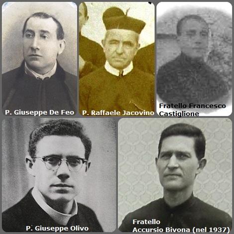 Tra i 30 defunti di oggi 30 novembre, di cui 8 italiani, l'immagine mostra 7 Redentoristi i due immagini. Prima immagine 5 Redentoristi: gli italiani P. Giuseppe De Feo (1834-1902); P. Raffaele Jacovino (1835-1909); fratello Francesco Castiglione (1896-1963); P. Giuseppe Olivo (1926-1978) e fratello Accursio Bivona (1905-1984) in una foto del 1937