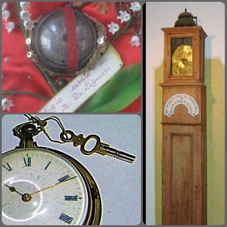 """Orologio grande nel Museo S.Alfonso a Pagani e orologio personale di S. Alfonso conservato nel Museo """"Don Guanella"""" di Como."""
