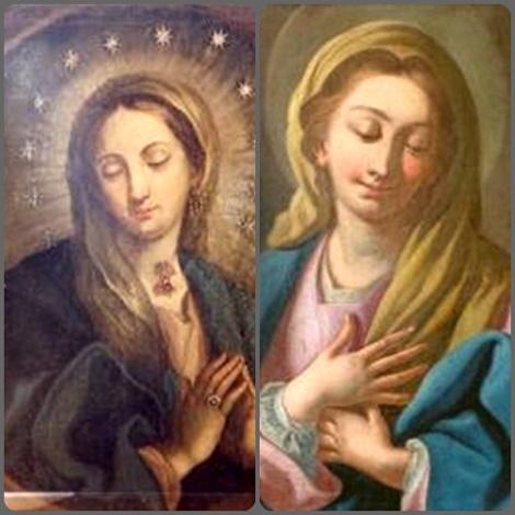 La Vergine purissima, Vergine Immacolata nella visione alfonsiana. - A sinistra una immagine portata dai Gesuiti in Sicilia (Calatafimi) a fine '600, a destra la Madonna dipinta da S. Alfonso.