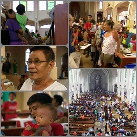 La chiesa redentorista  a Tacoblan, la città più colpita dal tifone Haiyan, ha aperto le sue porte per accogliere sfollati e disastrati. Al centro il parroco P. Edwin Bacaltos di 67 anni accoglie e  conforta i rifugiati.
