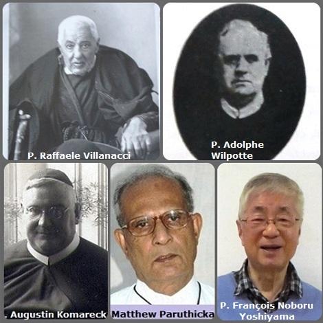 Tra i 40 defunti di oggi 8 dicembre, di cui 2 italiani, l'immagine mostra 5 Redentoristi: l'italiano P. Raffaele Villanacci (1851-1936); il francese P. Adolphe Wilpotte (1862-1927); il boemo P. Augustin Komareck (1878-1938); l'indiano P. Matthew Paruthickal (1943-2011) e il giapponese P. François Noboru Yoshiyama (1927-2013).
