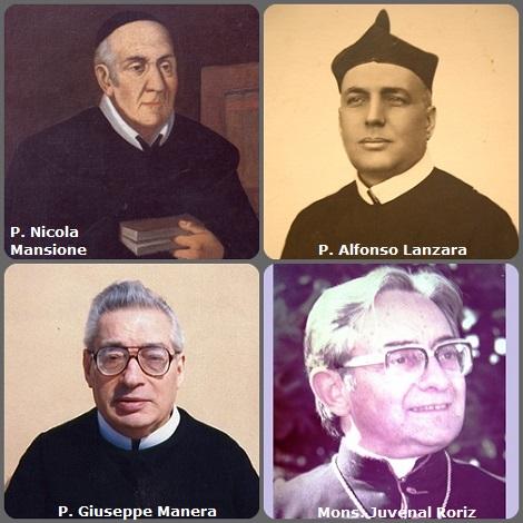 Tra i 29 defunti di oggi 13 dicembre, di cui 5 italiani, l'immagine mostra 4 Redentoristi: gli italiani P. Nicola Mansione (1741-1823), Rettore maggiore; P. Alfonso Lanzara (1875-1946); P. Giuseppe Manera (1914-2000) e il brasiliano Mons. Juvenal Roriz (1920-1994), secondo arcivescovo di Juiz de Fora (Brasile).