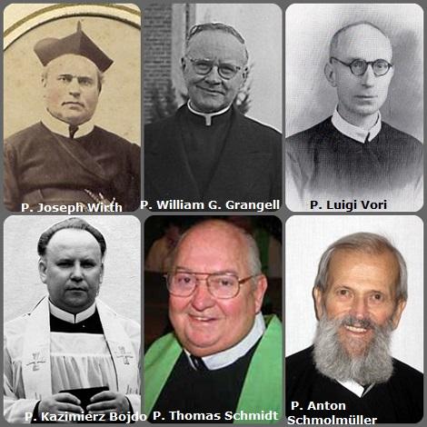 Tra i 37 defunti di oggi 14 dicembre, di cui 4 italiani, l'immagine mostra 6 Redentoristi: il tedesco P. Joseph Wirth (1832-1895); l'americano P. William Gerard Grangell (1893-1986); l'italiano P. Luigi Vori (1897-1996); il polacco P. Kazimierz Bojdo (1934-1996); l'americano P. Thomas Francis Schmidt (1935-2007) e l'austriaco P. Anton Schmolmüller (1939-2011).
