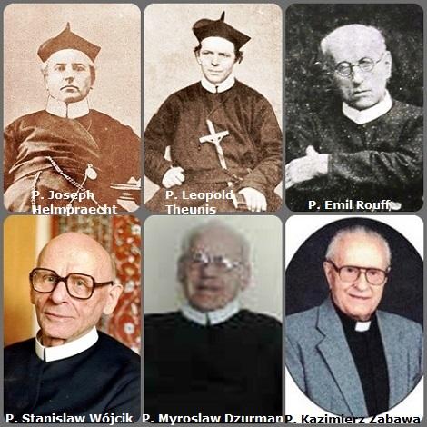 Seconda immagine: 6 Redentoristi: il bavarese P. Joseph Helmpraecht (1820-1884); il belga P. Leopold Theunis (1829-1892); il lussemburghese P. Emil Rouff (1881-1947); il polacco P. Stanislaw Wójcik (1948-1999); il canadese P. Myroslaw Dzurman (1927-2004) e il polacco P. Kazimierz Zabawa (1928-2012).