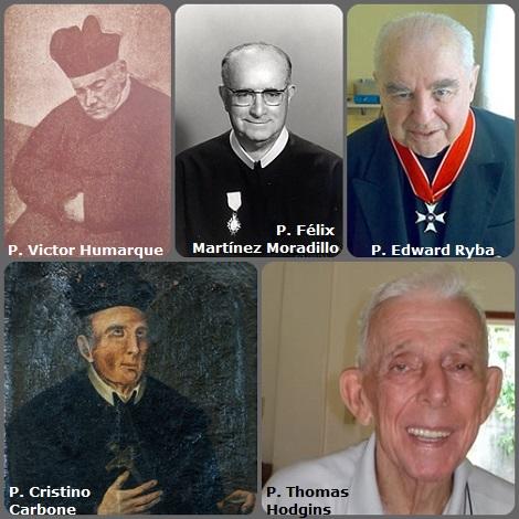 Tra i 32 defunti di oggi 18 dicembre, di cui 5 italiani, l'immagine mostra 5 Redentoristi: l'italiano P. Cristino Carbone (1723-1812); il francese P. Victor Humarque (1817-1896); lo spagnolo P. Félix Martínez Moradillo (1900-1977) morto in Venezuela, il neozelandese P. Thomas Hodgins (1926-2011) e il polacco P. Edward Ryba (1933-2011).