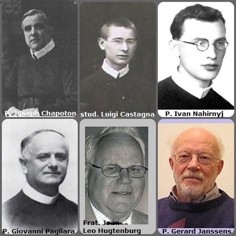 Tra i 36 defunti di oggi 19 dicembre, di cui 5 italiani, l'immagine mostra 6 Redentoristi: l'americano P. Joseph Chapoton (1875-1925); lo studente italiano Luigi Castagna (1912-1935); l'ucraino P. Ivan Nahirnyj (1914-1941); l'italiano P. Giovanni Pagliara (1879-1965); gli olandesi Fratello Joan-Leo Hugtenburg (1928-2008) e il P. Gerard Janssens (1935-2011).