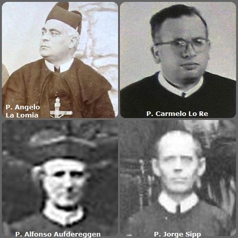 Tra i 41 defunti di oggi 22 dicembre, di cui 2 italiani, l'immagine mostra 4 Redentoristi: gli italiani P. Angelo La Lomia (1883-1931) e P. Carmelo Lo Re (1911-1979); lo svizzero P. Alfonso Aufdereggen (1844-1911) e il francese P. Jorge Sipp (1877-1920) trasferito in Argentina.