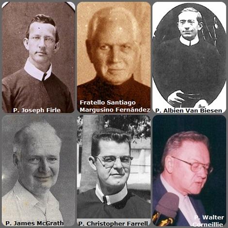 Seconda immagine 6 Redentoristi: l'americano P. Joseph Firle (1841-1919); lo spagnolo Fratello Santiago Margusino Fernández (1863-1937); il belga P. Albien Van Biesen (1886-1967); l'irlandese P. James McGrath (1931-1989); l'americano P. Christopher Farrell (1916-1993) e il belga P. Walter Corneillie (1937-2003).
