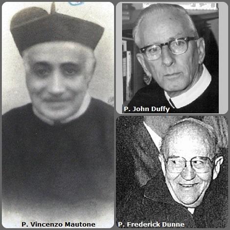 Tra i 41 defunti di oggi 24 dicembre, di cui 3 italiani, l'immagine mostra 3 Redentoristi: l'italiano P. Vincenzo Mautone (1827-1912); l'americano P. John Duffy (1914-1993) e l'irlandese P. Frederick Dunne (1920-2009).