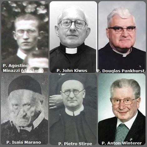 Tra i 38 defunti di oggi 27 dicembre, di cui 8 italiani, l'immagine mostra 6 Redentoristi: gli italiani P. Isaia Marano (1797-1874); P. Pietro Stirpe (1880-1944) e P. Agostino Minazzi (1911-1991); l'americano P. John Kiwus (1936-2006) e il canadese P. Douglas Pankhurst (1915-2009); il tedesco Anton Winterer (1929-2013).