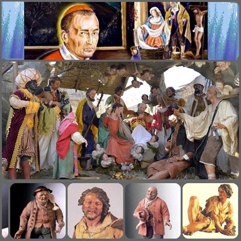 Presepe napoletano in Piazza San Pietro 2013 - S. Alfonso nel volto dei poveri vedeva la strada di Dio; volti che incontrava quotidianamente e che aiutava a recuperare la dignità di figli di Dio.