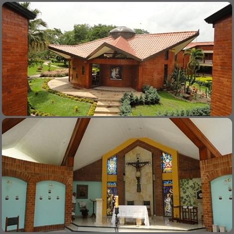 Colombia - Villa Marianella a Chinauta - Esterno ed interno della cappella della bella Casa di ritiro e convivenza.