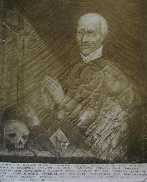 Antica tela raffigurante P. Pasquale D'Alessandro, redentorista nativo di Caporciano, provincia di L'Aquila, che godette la stima e l'affetto dei suoi confratelli, soprattutto dei giovani.