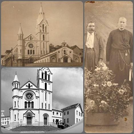 Juiz de Fora (Brasile) - Fratello Werenfrido Vogels e la chiesa di Nossa Senhora da Glória che egli ha progettato e che è cresciuta nel corso del tempo.
