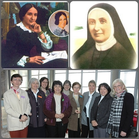 Madre Antonia de Oviedo in abito secolare e religioso e un gruppo di Oblate del SS. Redentore dell'Argentina oggi.